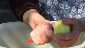 Cortar las patatas en el pote de aluminio del vintage para preparar la vieja receta frecuencia intermedia de la granja metrajes