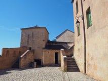 Corte前院, Corse,法国老城堡  库存图片