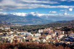 Corte,山的一个美丽的城市在Corsic海岛上  库存照片