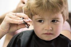 Corte áspero de la franja Corte de pelo dado del pequeño niño Pequeño niño en salón de la peluquería Niño pequeño con el pelo rub imagenes de archivo