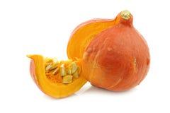 Corte anaranjado de la calabaza abierto Imagen de archivo libre de regalías