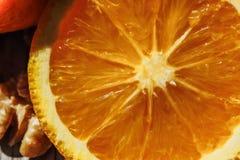 corte anaranjado de la fruta Foto de archivo libre de regalías