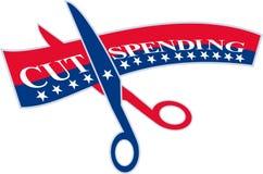 Corte as tesouras da despesa que cortam Bill Fotos de Stock