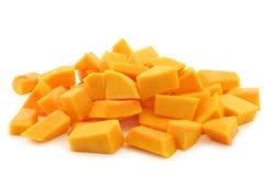 Corte blocos de abóbora do butternut Fotos de Stock