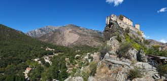 Corte, cittadella, si è appollaiato, la Corsica, Corse, Cap Corse, Corse superiore, Francia, Europa Fotografie Stock