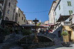 Corte, cytadela, fontanna, Corsica, Corse, nakrętka Corse, Górny Corse, Francja, Europa Fotografia Royalty Free