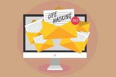 Corte da vida do texto da escrita da palavra Conceito do negócio para técnicas simples e inteligentes em realizar a recepção do c ilustração stock