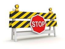 Corte de estrada com símbolo da parada Fotos de Stock