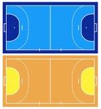 Corte de handball azul e marrom Foto de Stock