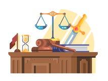 Corte de la jurisprudencia y concepto de la ley plano stock de ilustración
