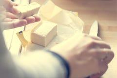 Corte de la mantequilla Foto de archivo libre de regalías
