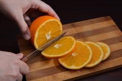 Corte de la naranja Fotografía de archivo