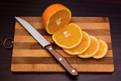 Corte de la naranja Fotografía de archivo libre de regalías