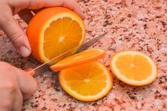 Corte de la naranja Imágenes de archivo libres de regalías