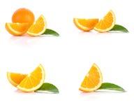 Corte de las naranjas, hojas en el fondo blanco Fotografía de archivo libre de regalías