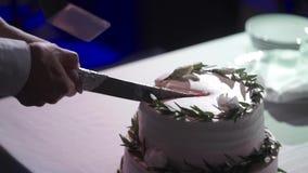 Corte de novia y del novio de la torta de la celebración de la boda metrajes