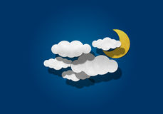 Corte de papel, lua e nuvem Imagens de Stock Royalty Free