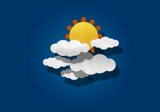 Corte de papel, sol grande e nuvem Imagens de Stock Royalty Free