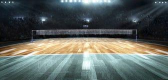 Corte de voleibol profesional vacía en luces fotos de archivo