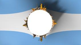 Corte del agujero en la bandera de la Argentina libre illustration