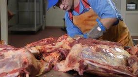 Corte del carnicero, procesando la carne fresca Planta del tratamiento de la carne Industria de la salchicha tirado de meatman co almacen de video