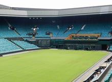 Corte del centro dopo i campionati, il Murray e il Raonic nel tabellone segnapunti Wimbledon, Regno Unito immagine stock libera da diritti