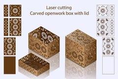 Corte del laser Caja a cielo abierto tallada con la tapa Foto de archivo libre de regalías