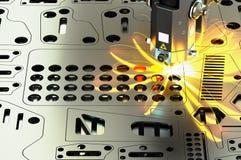 Corte del laser de la hoja de metal con las chispas, representación 3D Imagen de archivo