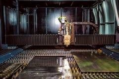 Corte del metal, tecnología industrial moderna del laser del CNC Imagen de archivo