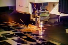 Corte del metal, tecnología industrial moderna del laser del CNC Fotos de archivo