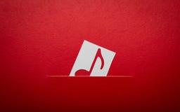 Corte del papel de la nota de la música con el espacio de la copia Imagenes de archivo