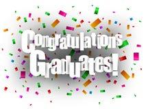 Corte del papel de tarjeta de felicitación de los graduados de la enhorabuena Foto de archivo libre de regalías
