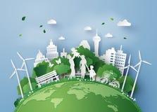 Corte del papel del eco stock de ilustración