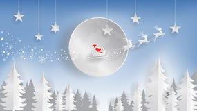 Corte del papel, Feliz Navidad y Feliz Año Nuevo, Papá Noel y reno volando sobre la luna libre illustration