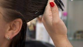 Corte del pelo femenino oscuro en salón de la peluquería almacen de metraje de vídeo