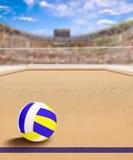 Corte di beach volley con la palla sullo spazio della copia e della sabbia Royalty Illustrazione gratis