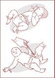 Corte do cabo de cordão umbilical em um bebê recém-nascido Fotos de Stock Royalty Free