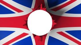 Corte do furo na bandeira de Reino Unido Reino Unido ilustração stock