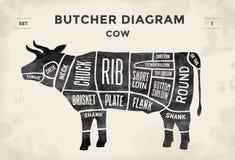 Corte do grupo da carne Diagrama do carniceiro do cartaz - vaca Desenhado à mão tipográfico do vintage Ilustração do vetor ilustração do vetor