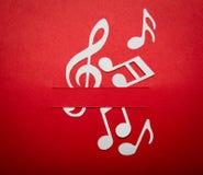 Corte do papel da nota da música com espaço da cópia Imagens de Stock