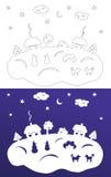 Corte do papel do inverno Árvores Snow-covered Casas e bonecos de neve Fotografia de Stock Royalty Free
