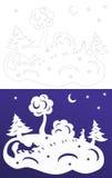 Corte do papel do inverno Árvores Snow-covered Lebre e raposa Wycinanka Imagens de Stock