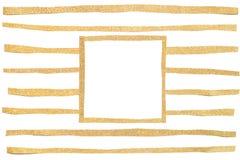 Corte do papel do quadro do quadrado do brilho do ouro fotos de stock royalty free