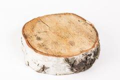 Corte el árbol en el fondo blanco Bandeja de madera Imagenes de archivo