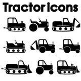 Corte el diverso sistema negro del icono de la maquinaria del tractor y de construcción aislado en el fondo blanco Imagen de archivo