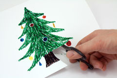 Corte el papel un árbol de navidad foto de archivo libre de regalías