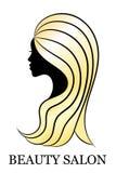 Corte el perfil femenino con el pelo de oro para el balneario y la decoración del salón de belleza Fotografía de archivo
