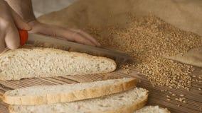 Corte a fatia de pão na tabela de madeira, no movimento lento, fim acima filme