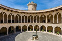 Corte interna do castelo de Bellver Fotografia de Stock