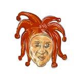 Corte Jester Head Drawing Fotos de Stock Royalty Free